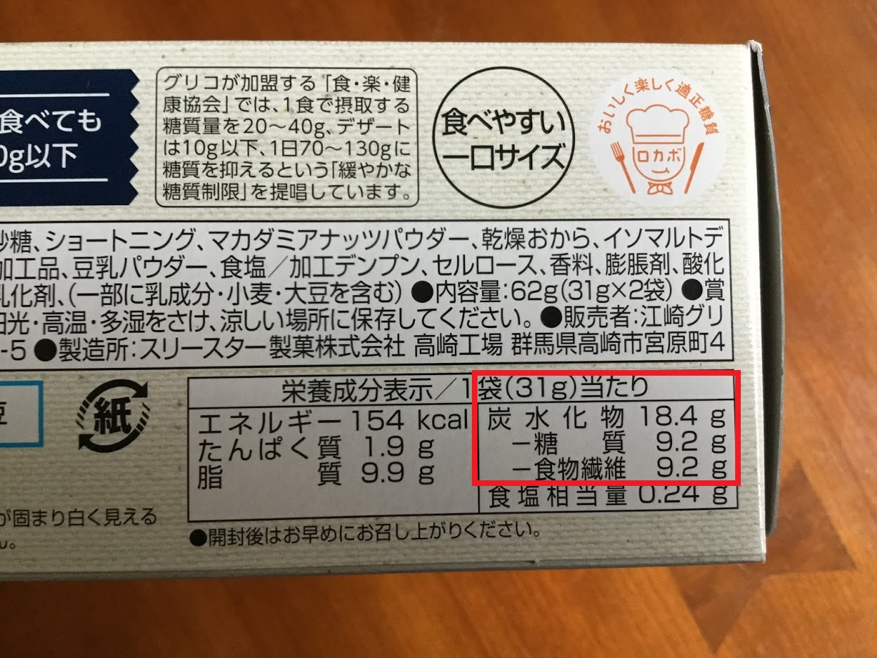 グリコのSUNAOビスケット発酵バター糖質量
