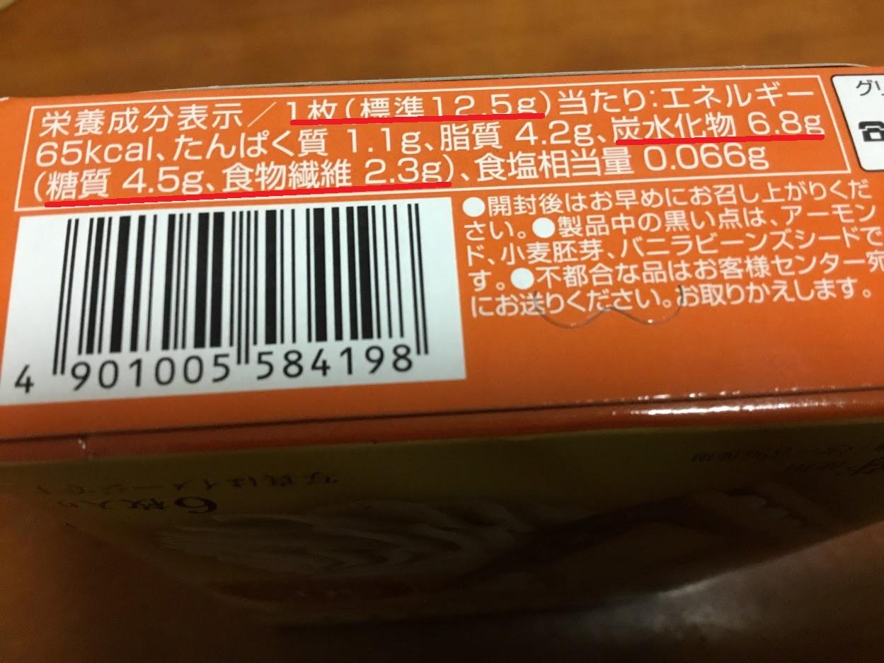 グリコのSUNAOアーモンド&バニラ(クリームサンド)糖質量