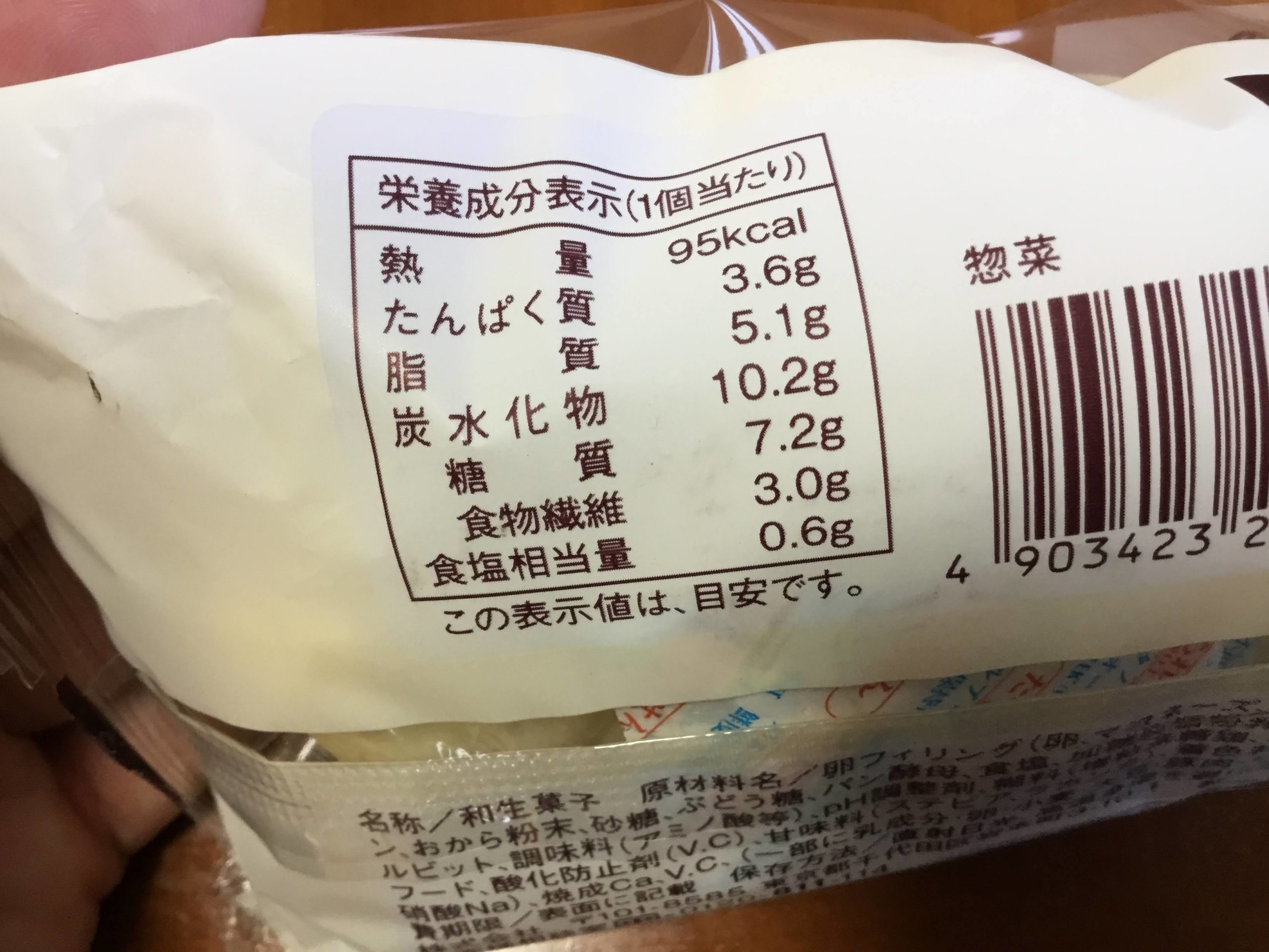 ハムエッグのしっとりパン糖質量