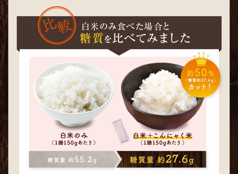 白米とこんにゃく米一膳の糖質比較