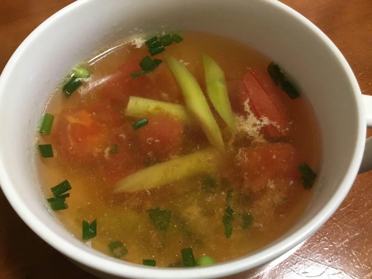 トマトアスパラ鶏スープ